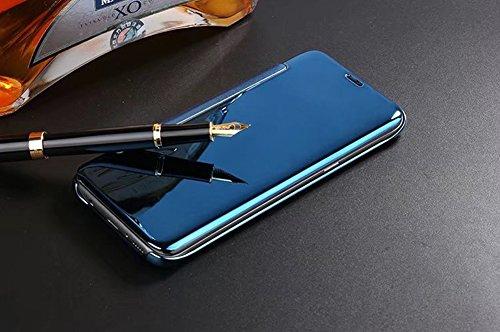 Huawei Mate 8 Hülle,Huawei Mate 8 Spiegel Ledertasche Handyhülle Brieftasche im BookStyle,SainCat Clear View Überzug Mirror Effect PU Leder Hülle Wallet Case Folio Transparent Durchsichtig Schutzhülle Blau
