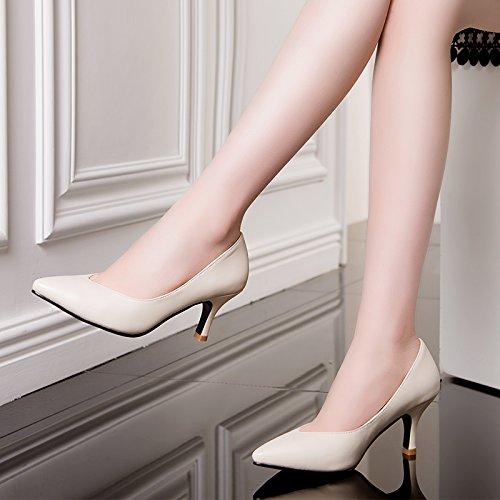 tacco calzature alto Unico punta pelle in scarpe donna scarpe lavoro Beige da 37 nera con di selvaggio occupazione UqUOx67