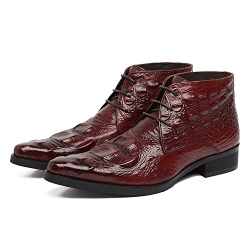 Alligator Mens Shoes - Santimon Men's Genuine Alligator Leather Ankle Boots Causal Boots Brown 44