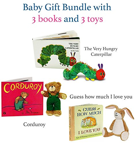 The Very Hungry Caterpillar, Corduroy, Guess How Much I Love You gift bundle (3 books and 3 toys)