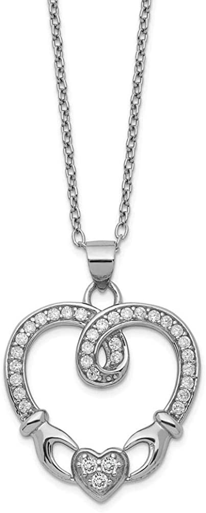 Sterling Silver Claddagh Heart CZ With 1 Extension Necklace 16.5