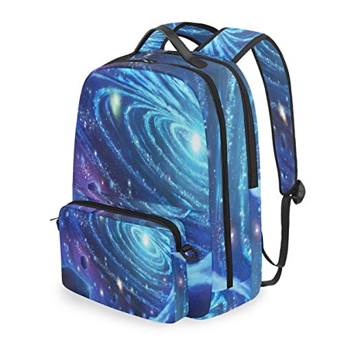 - Laptop Backpack Blue Star Universe Cosmetic Bag Pouch Detachable Back pack
