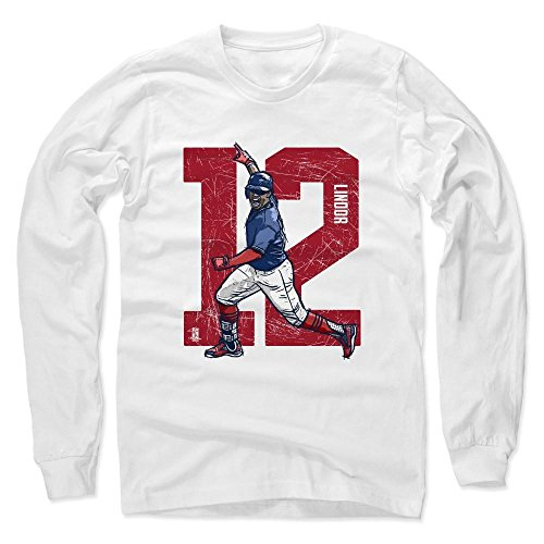 09 Player Series (500 LEVEL's Francisco Lindor Long Sleeve T-Shirt S White - Francisco Lindor Alpha R - Cleveland Baseball Fan Gear Officially Licensed by the MLB Players Association)