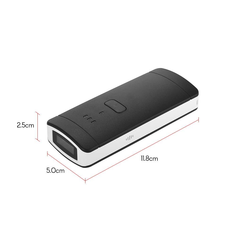 tragbar kabellos BT Barcode Scanner mit USB-Empf/änger wiederaufladbarer Akku 1600 mAh unterst/ützt Windows XP//Win 7 8 10//Mac//Android//iOS Aibecy 1D-Mini-Barcode-Scanner