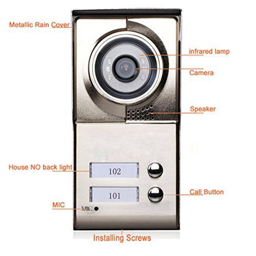 MOUNTAINONE 2 Apartment/Family Video Door Phone Intercom System 1 Doorbell Camera with 2 button 2 Monitor Waterproof SY811WMC12 by MOUNTAINONE (Image #4)
