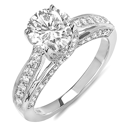 0.65 Carat (ctw) 14K White Gold Round Diamond Ladies Solitaire with Accents Bridal Engagement Ring (No Center Stone) -