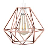Vintage Pendant Light, Frideko Retro Industrial Metal Iron Wire Cage Diamond Hanging Light for Home Restaurant Bar (Rose Gold)