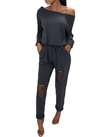 2ad90374c64 Amazon.com  Ivrose Women s Casual One-Off Shoulder Drawstring Top Ripped  Pants Jumpsuits  Clothing