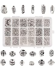 PH PandaHall 480pcs 18 Styles Jewelry Spacers Beads Tibetan Alloy Metal Beads Charms Spacers for Necklace Bracelet Jewelry Making, Antique Silver