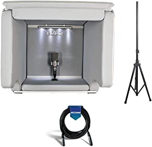 ISOVOX Portable Vocal Isolation Booth, Midnight - Bundle With 20' Heavy Duty 7mm Rubber XLR Microphone Cable, Pyle PSTND25 6ft Tripod Speaker Stand