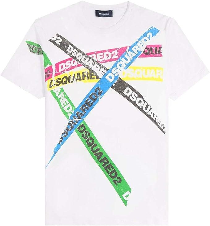 Dsquared2 Camiseta con Logotipo de Cinta White Meduim: Amazon.es: Ropa y accesorios