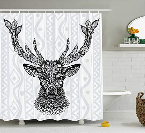 Deer Pattern - Ambesonne Deer Decor Shower Curtain Set, Figure of Aboriginal FloralPolynesian Ethnic Deer Pattern Mammal Artistic Boho Design, Bathroom Accessories, 75 Inches Long, Black Gray