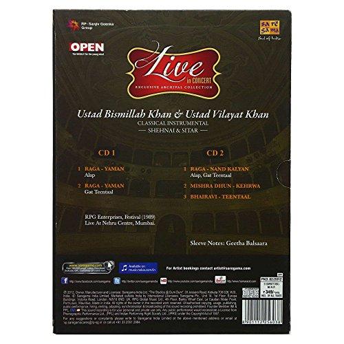 Live In Concert: Ustad Bismillah Khan & Ustad Vilayat Khan (Classical Instrumental): Shehnai and Sitar (Set of 2 Audio CDs) by Saregama (Image #2)