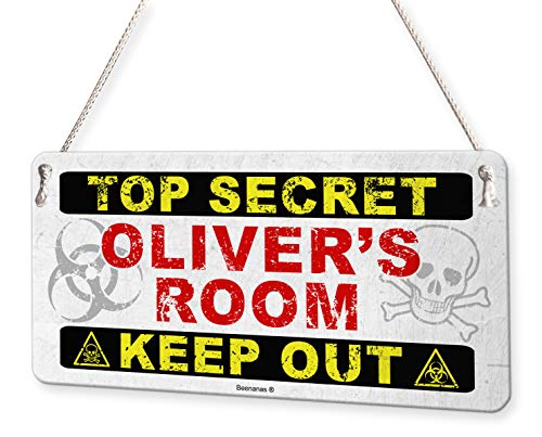 Top Secret Keep Out Personalised Childs Bedroom Door Sign Name Plaque ()