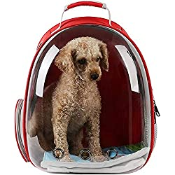 BMHFF Pet Carrier Backpack for Small Dog Cat Pokemon Travel Hiking Waterproof Transparent Dome Space Capsule Airline Approved,Red