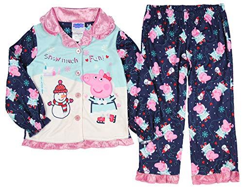 Peppa Pig Pajamas Girls Toddler Snow Much Fun Winter Wonderland 2 Piece Fleece Coat Sleep Set (4T)