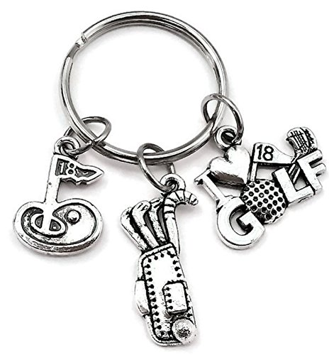 Golf Bag Keychain (Golf keychain, I love Golf keychain, Golf charm keychain, Golf key ring)