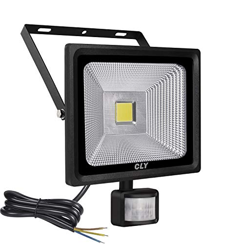 CLY 30W LED Motion Sensor Floodlight Outdoor Super Bright 2700 Lumens Security Flood Lights Waterproof IP66 Cool White 6000K Wall lighting With Sensitive Detector (Without Plug)