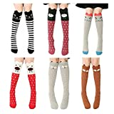 3 Pairs Girls Socks Cotton Over Calf Knee High Socks Cute Animal Bear Fox Cat Dog