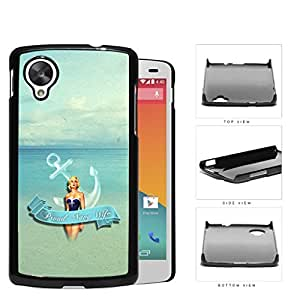 Proud Navy Wife with Vintage Pin Up Girl Anchor and Ocean View Nexus 5 Hard Snap on Plastic Cell Phone Case Cover