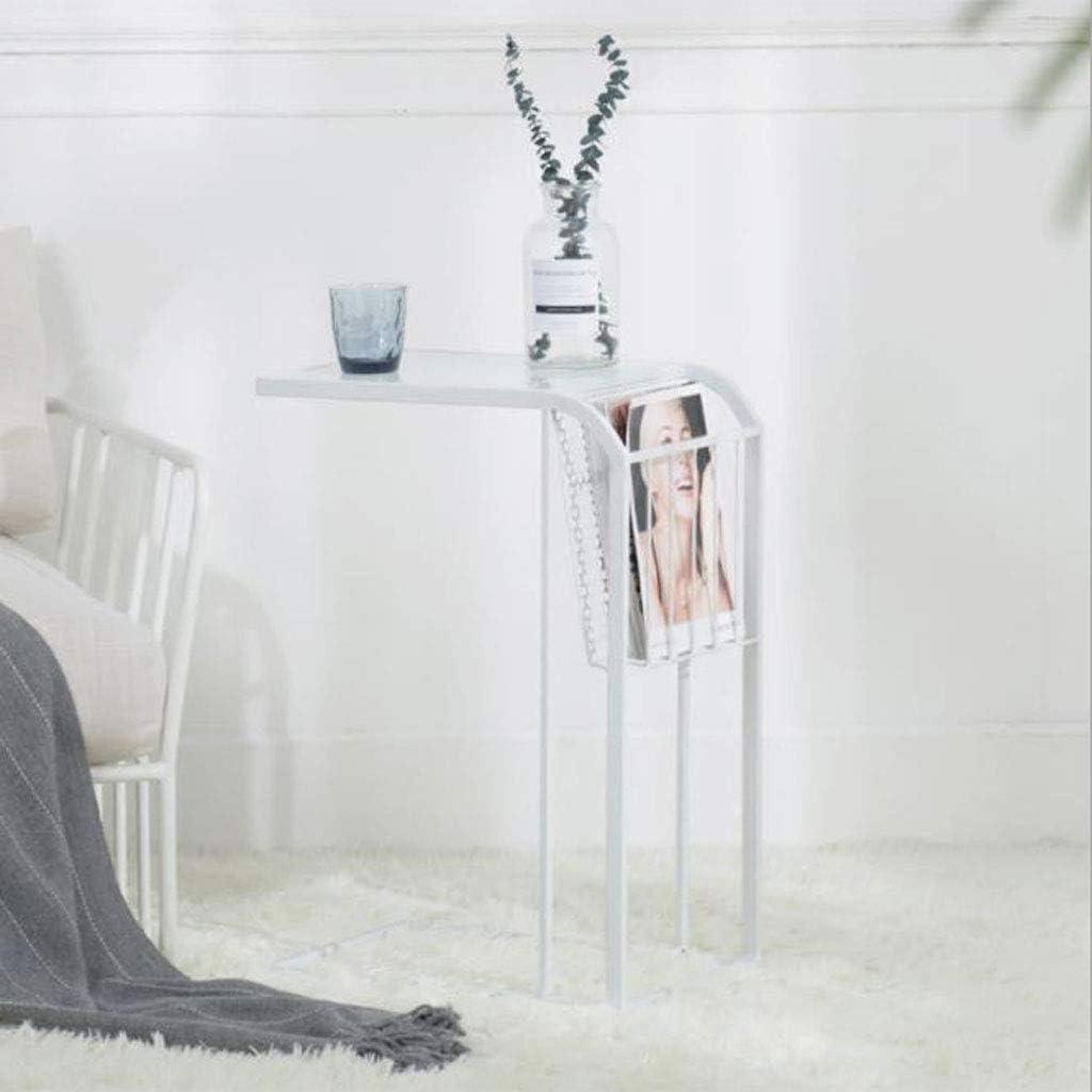 Voorafgaande Bestelling Huahua Furniture Bijzettafel, salontafel, moderne, minimalistische slaapkamer, nacht bijzettafel, mini-Europese smeedijzer, sofatafel, klein eindstukken wit k3u7MeZ
