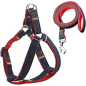URPOWER Dog Leash Harness Adjustable & Durable Leash Set & Heavy Duty Denim Dog Leash Collar for Small, Medium and Large Dog, Perfect for Daily Training Walking Running
