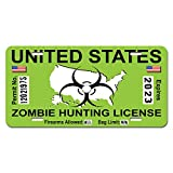 Zombie Hunting License Permit Green United States - Biohazard Response Team Novelty Metal Vanity License Tag Plate
