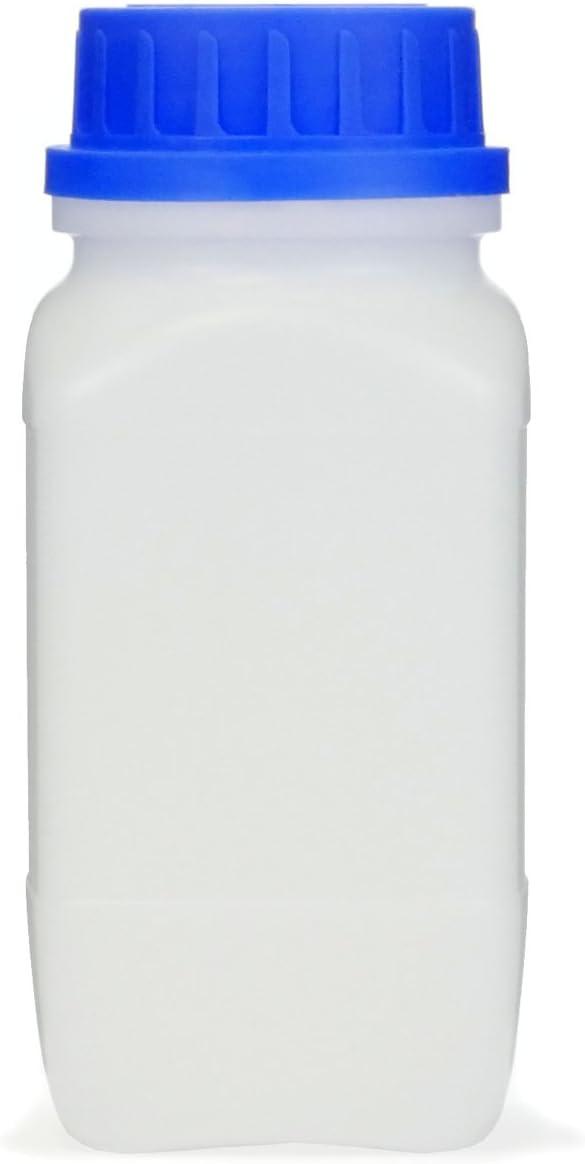 Botella de cuello ancho con tapón de rosca, para productos químicos, de laboratorio, transparente, 500 ml