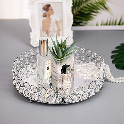 Feyarl Mirrored Crystal Vanity Makeup Round Tray Ornate Jewelry Trinket Tray Organizer Cosmetic Perfume Bottle Tray Decorative Tray Home Deco Dresser Skin Care Tray Storage