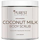 Purest Naturals Coconut Milk Body Scrub Polish - Best 100% Natural Exfoliator Moisturizer For Cellulite Stretch Marks, Eczema, Acne & Varicose Veins - Dead Sea Salt, Almond Oil & Vitamin E