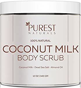 Purest Naturals Coconut Milk Body Scrub Polish - Best 100% Natural Exfoliator Moisturizer For Cellulite Stretch Marks, Eczema, Acne & Varicose Veins - Dead Sea Salt, Almond Oil & Vitamin E