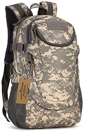 ArcEnCiel Water-Resistant Military Backpack Rucksack Gear Tactical Assault Pack Student School Bag for Hunting Camping Trekking Travelling -Rain Cover Included (ACU Camouflage)