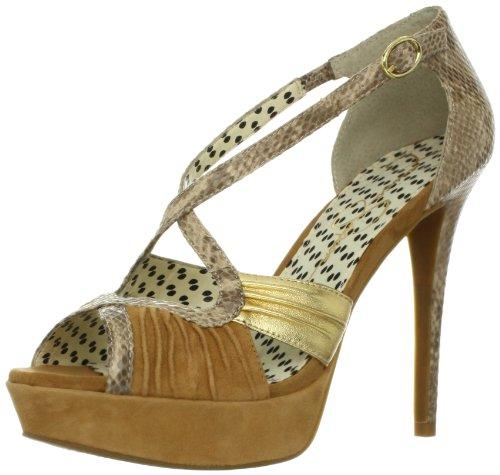 Jessica Simpson Women's Brouge Platform Sandal,Dark Camel Combo,10 M (Dark Beige Footwear)