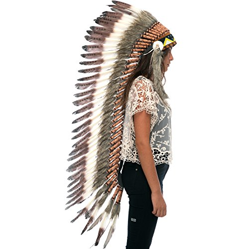 Extra Long Feather Headdress- Native American Indian Inspired - Brown Tip (Balinese Hat)