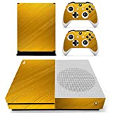 SKINOWN Xbox One S Slim Skin Golden Wood Grain Sticker Vinly Decal Cover for Xbox One Slim(XB1 S) Console and 2 Controller Skins