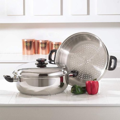 Precise Heat Surgical Stainless-Steel Oversized Skillet (Stainless Oversized Steamer Steel Skillet)