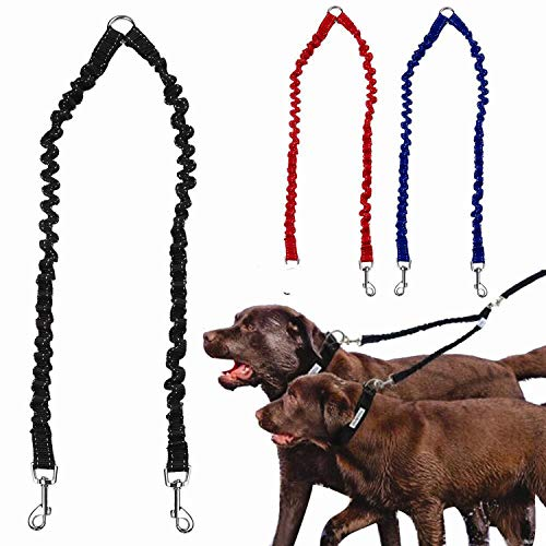 Fairy-Margot Double Leash Elastic Bungee Pet Coupler Walking Leads for 2 Twin s Leashes Splitter 3 Colors Avaliable,Blue,2X46cm ()