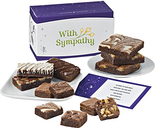 Fairytale Brownies Sympathy Treasure Medley Gourmet Food Gift Basket Chocolate Box - Full-Size, Snack-Size and Bite-Size Brownies - 12 Pieces