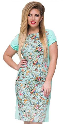 A Donne Formato Più Rose Gonna Vestito up Corta Aderente Delle Modello Dd Manica Verde Breve Sottile TPqAtOxw