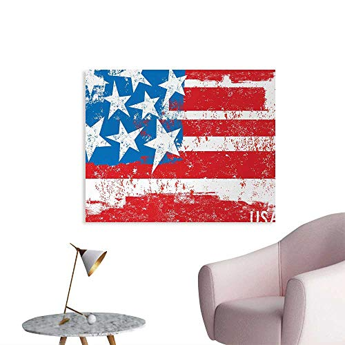 Tudouhoho American Flag Cool Poster Culture Flag Solidarity of USA Stars Inspiration Retro Royalty Vintage Art Photographic Wallpaper Coral White W32 xL24