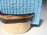 Handmade Sponge Holder / Sink Caddy ~ Stoneware Ceramic Pottery - Yellow Wheat with Brown Swirl