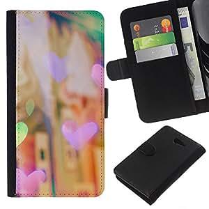 KLONGSHOP // Tirón de la caja Cartera de cuero con ranuras para tarjetas - corazón la noche justo luces de la ciudad de la ciudad de viñeta - Sony Xperia M2 //