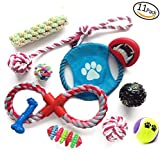 Caidie pets-11 pack set Interactive Dog Toys Durable Chew Ropes Rubber Ball Toy Dog Teething Toys