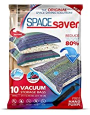 Spacesaver Premium Vacuum Storage Bags. 80% More Storage! Hand-Pump for Travel! Double-Zip Seal and Triple Seal Turbo-Valve for Max Space Saving!