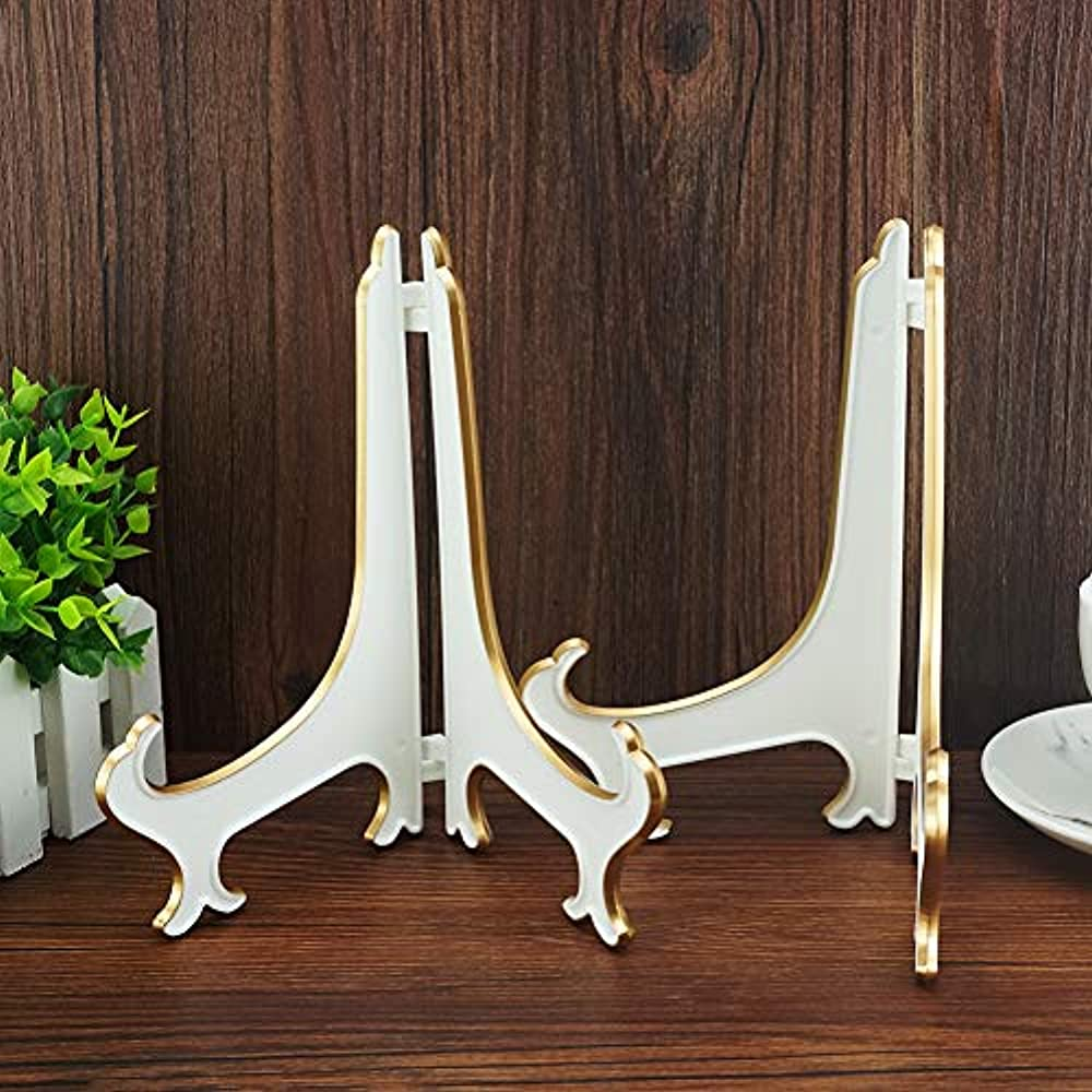 Details About 8 Decorative Plate Stand Holder Plastic Picture Easel Display Frame White Gold