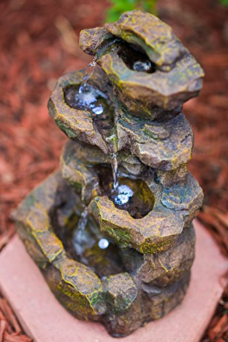 "16"" Emerald Pools 4-Tier Waterfall Rock Fountain w/LED Lights: Charming Outdoor Water Feature for Gardens & Patios. Adjustable Pump. HF-R21-16LT"
