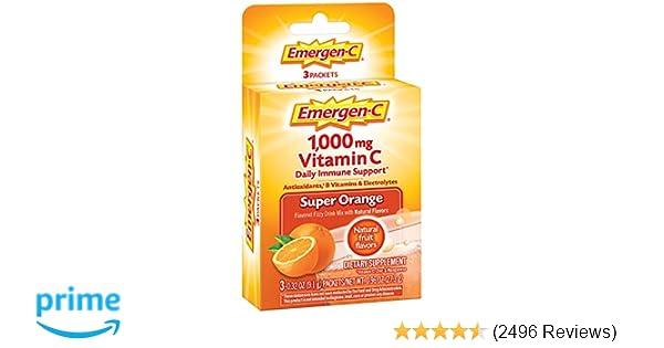 Emergen-C (3 Count, Super Orange Flavor) Dietary Supplement Fizzy Drink Mix  with 1000mg