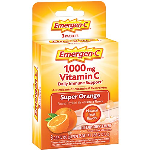 Emergen-C Vitamin C 1000mg Powder (3 Count, Super Orange Flavor), with Antioxidants, B Vitamins and Electrolytes, Dietary Supplement Fizzy Drink Mix, Caffeine Free