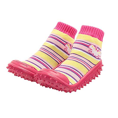 (iEndyCn Anti-slip Floor Socks Boots Floral Baby Socks With Rubber Soles For Children Cotton Shoes (About 13 cm,)