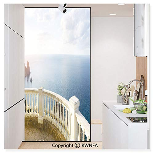 Non-Adhesive Privacy Window Film Door Sticker Historical Stone Balcony Balustrade Ocean Rocks Horizon Ancient Europe Glass Film 23.6 in. by 78.7in. (60cm by 200cm),Blue White Brown